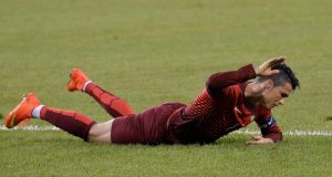 Portugal's Cristiano Ronaldo reacts to missing an opportunity during the match at the MetLife Stadium. Photograph: EPA