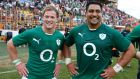 The Connacht duo of Kieran Marmion and Rodney Ah You after making their debuts in the first Test against Argentina  at Estadio Centenario in Resistencia. Photograph: Billy Stickland/Inpho