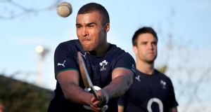 Corkman Simon Zebo will have been more familiar than most with the hurley and sliotar he borrowed at the Hurling Club in Buenos Aires. Photograph: Dan Sheridan/INpho