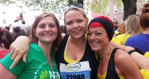 Clair Dale, Emma Wynne Morrissey and Natalie Fitzgerald at the Flora women's mini marathon in June.