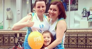 Laura Hewitt, her daughter Ava Smith, and Eimear Ford at the Flora Women's Mini Marathon on June 2nd.