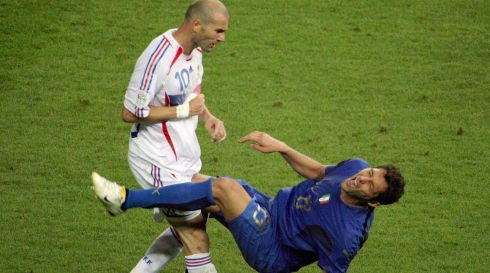 Zinedine Zidane head-butting Italian defender Marco Materazzi during the World Cup 2006 final football match between Italy and France