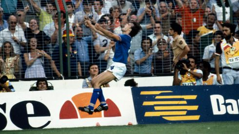 Sport, Football, 1982 World Cup Final, Madrid, Spain, 11th July, 1982, Italy 3 v West Germany 1, Italy's Marco Tardelli celebrates after scoring the second goal  (Photo by Bob Thomas/Getty Images)