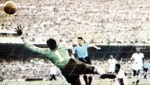 World Cup Final, 1950, Brazil, Maracana Stadium, Rio De Jainero, Brazil 1 v Uruguay 2, 16th July, 1950, Juan Schiaffino scores Uruguay's first goal past Brazilian keeper Barbosa (Photo by Popperfoto/Getty Images)