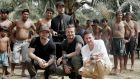 On the road: Becks and his mates in 'David Beckham Into the Unknown'