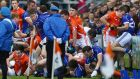 Cavan and Armagh players become involved in a brawl before the parade at the Ulster quarter-final at the Athletic Grounds. Photo: William Cherry/Presseye