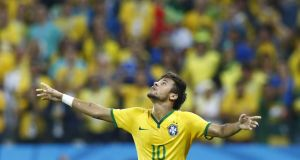 Neymar celebrates his opening  goal against Croatia. Photograph: Murad Sezer/Reuters