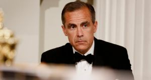 Mark Carney, governor of the Bank of England, pauses during the annual Bankers and Merchants dinner at Mansion House in London. Photographer: Simon Dawson/Bloomberg