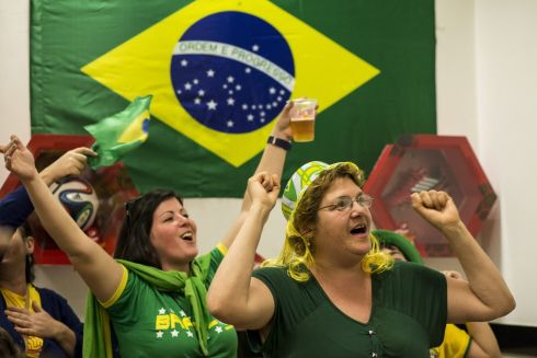 Supporters in a pub close to the Arena Corinthians stadium in Sao Paulo. Photograph: EPA/Aaron Cadena Ovalle