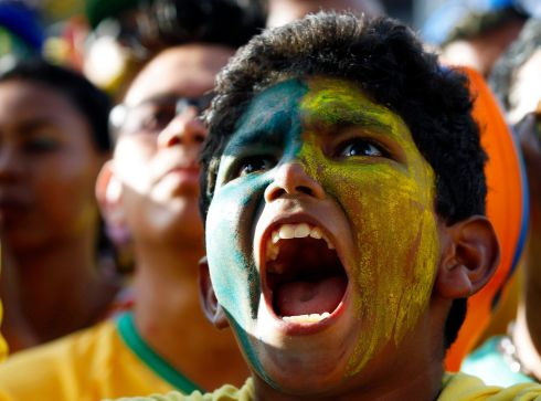 Brazilian fans at the Fan Fest in Manaus, Brazil. Photograph: Rungroj Yongrit/EPA