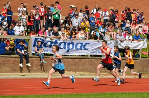 Athletes, from left to right, Harrison Gaw, Blackrock, Dublin, Eastern Region, Ronan Desmond, Bandon, Co. Cork, Team Munster, Sean Nolan, Enniscorthy, Co. Wexford, Team Leinster, and Patrick Brown, North Down, Team Ulster, during the Division 15 50m run heat. Photograph: Diarmuid Greene/Sportsfile