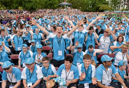 Eastern Region athletes during the opening ceremony in Limerick. Photograph: Diarmuid Greene/Sportsfile