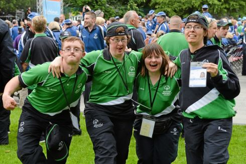 Team Connaught athletes at the ceremony. Photograph: Diarmuid Greene/Sportsfile