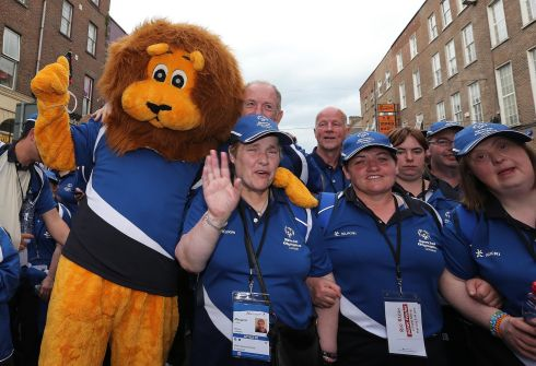 Leo the Lion with some Leinster athletes. Photograph: Lorraine O'Sullivan/Inpho