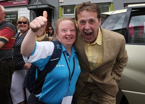 Joan Maguire hangs out with Today FM broadcaster Ian Dempsey at the parade. Photograph: Lorraine O'Sullivan/Inpho