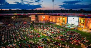 Berlin's Union soccer club has invited its supporters to bring their sofas to its stadium to watch World Cup soccer matches on a giant screen in a communal 'living room' atmosphere. Photograph: Thomas Peter/Reuters