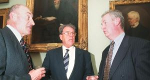 Cedric Thornberry (centre) attending a symposium on peacekeeping in Dublin in 1999. Photograph: Cyril Byrne