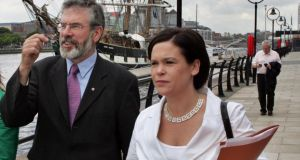 'The first election of the recession was the 2009 local elections in which Sinn Féin got almost exactly the same vote as it got in 2004 and Mary Lou McDonald lost her European Parliament seat.' Above, McDonald canvassing for the 2009 elections with Sinn Féin leader Gerry Adams. Photograph: Matt Kavanagh