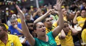 Fans are still celebrating after Brazil defeated Croatia 3-1 in the opening match of the 2014 World Cup last night. Photograph: Victor Moriyama/Getty Images