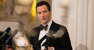 British chancellor of the exchequer George Osborne addresses the annual Bankers and Merchants dinner at the Mansion House in London. Photograph: Simon Dawson/Bloomberg