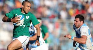 Simon Zebo breaks clear of the Argentina defence to score Ireland's first try during the second Test in Tucumán, Argentina. Photograph:  Dan Sheridan/Inpho