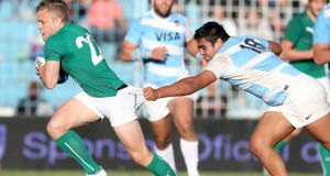 Matias Alemano's attempt to stop Ian Madigan scoring Ireland's second try comes up short during the second Test in Tucumán, Argentina. Photograph: Dan Sheridan/Inpho