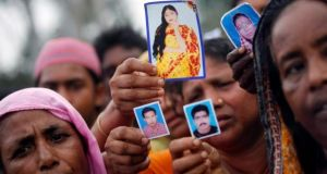 The collapse of the Rana Plaza building outside Dhaka resulted in the death of 1,130 people, mostly garment workers. Photograph: Andrew Biraj/Reuters