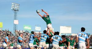 Ireland's Paul O'Connell is made  stretch to the limit as he wins this lineout in Saturday's second Test at the Estadio JosŽ Fierro in Tucumán. Photograph: Dan Sheridan/Inpho