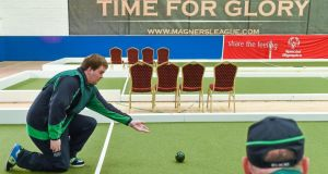 Mark Bolger from Galway City competes for Team Connaught in the bocce doubles competition. Photograph: Diarmuid Greene/Sportsfile
