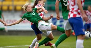 The Republic's Denise O'Sullivan scores a last-minute goal to win the game. Photograph: Ryan Byrne/Inpho