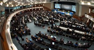 International government officials participating in the the UN climate convention in Bonn, which ended yesterday. Photograph: Matthias Balk/EPA