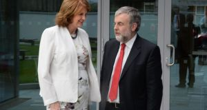 Minister for Social Protection and candidate for Labour Party leadership Joan Burton speaking to Jack O'Connor of Siptu at the weekend's hustings. Photograph: Dara Mac Dónaill
