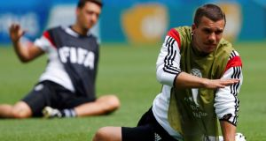 Germany's Lukas Podolski could well start against Portugal later today.