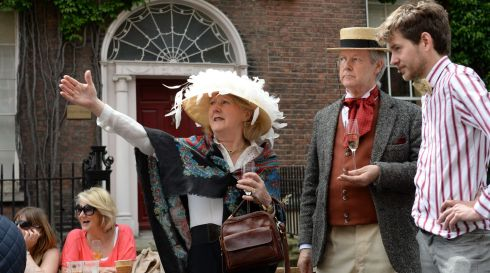 Josephine O'Connell, and Raphael Kelly, Both residents on Nth Great Georges St, with Samuel Bishop, (right) co-ordinator of Street Feast, at the Happenings & Street Feast 'Bizarre Bloomsday Brunch' on Sunday Photograph: Dara Mac Donaill / The Irish Times