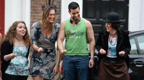 From left: Laura Aguglia, Belgium, Barbara Breda,  Italy, Airton Esmerio, Brazil and Jessica Peel-Yates, member of 'At It Again'  who organised the Potato and Spoon Race, as part of the Bloomsday celebrations on Sunday. Photograph: Dara Mac Donaill / The Irish Times