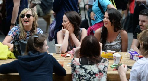 Shauna Mulhern, Catherine O'Sullivan, Aileen O'Sullivan and Stuart Rob, (facing camera) enjoying brunch at the Happenings & Street Feast 'Bizarre Bloomsday Brunch. Photograph: Dara Mac Donaill / The Irish Times