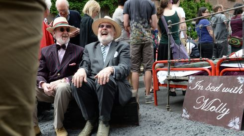 Senator David Norris with David Kiberd,at the Dubliners Street Theatre organised by 'The Here Comes Everybody Players', from Boston, Massachusetts on Sunday as part of Bloomsday celebrations. Photograph: Dara Mac Donaill / The Irish Times