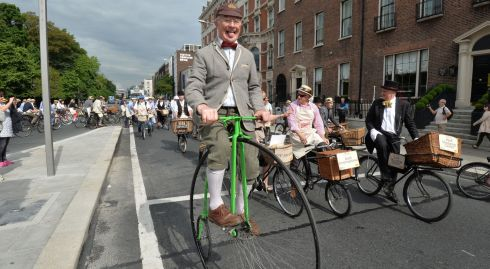 Penny-Farthing trick champion Pete Matthews riding a 1888 Penny Farthing at the 21st  Annual Brennans Bloomsday Bike Rally on Sunday. Photograph: Alan Betson / The Irish Times