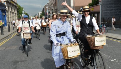 150 cyclists take part in the 21st Annual Brennans Bloomsday Bike Rally for the Irish Youth Foundation.  Photograph: Alan Betson / The Irish Times