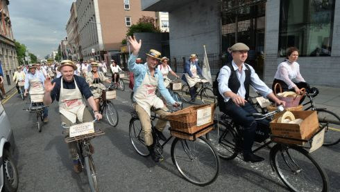 150 cyclists took part in the 21st Annual Brennans Bloomsday Bike Rally for the Irish Youth Foundation. Photograph: Alan Betson / The Irish Times