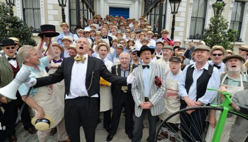 Newly Elected Lord Mayor of Dublin Christy Burke joined by Grand Marshal Graham Wilkinson (Left) and Paul Kennedy as James Joyce and the 150 cyclists who took part  in the Brennans Bloomsday Bike Rally. Photograph: Alan Betson / The Irish Times