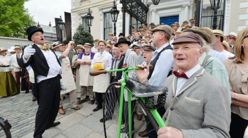 Newly Elected Lord Mayor of Dublin Christy Burke (Centre)  joined by Grand Marshal Graham Wilkinson (Left) , Paul Kennedy as James Joyce and 79 Year Old Penny-Farthing trick champion Pete Matthews (Right)  at the 2014 Bloomsday celebrations in Dublin. Photograph: Alan Betson / The Irish Times