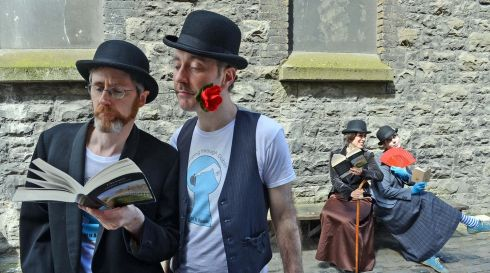 (from left) : James Moore, Niall Laverty, Jessica Peel-Yates, and Maite Lopez,  members of the theatre group At it Again, at the launch of The James Joyce Centre's Bloomsday Festival, which ran from June10th-16th. Photograph:  Eric Luke  /  The Irish Times