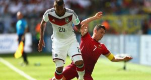 Germany coach Joachim Löw praised defender Jerome Boateng for his man-marking job on Portugal's Cristiano Ronaldo during the Group G match in Salvador. Photograph: Clive Brunskill/Getty Images