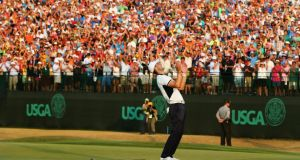 Martin Kaymer of Germany celebrates his eight-stroke victory on the 18th green during the final round of the 114th U.S. Open at Pinehurst Resort & Country Club, Course No. 2. Photograph Lecka/Getty Images