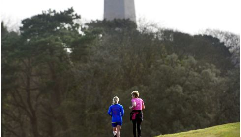 Jogging near the Wellington Monument in the Phoenix Park. Photograph: Bryan O'Brien /The Irish Times