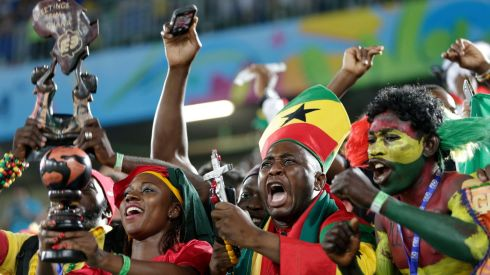 Ghana fans react before the group G World Cup soccer match between Ghana and the United States at the Arena das Dunas in Natal, Brazil, Monday, June 16, 2014.