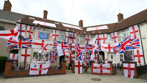 Karl Eustace and Ste Gannon (not in picture) from Speke, Liverpool took a week to decorate their houses in support of England during the 2014 FIFA World Cup in Brazil. PRESS ASSOCIATION
