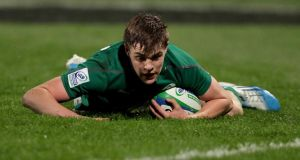Ireland's Garry Ringrose has been nominated for the Junior Player of the Year Award. The Blackrock centre scored a try in the semifinal against England> Photograph: ©INPHO/Photosport/David Rowland