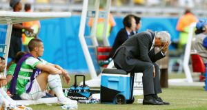 Algeria coach Vahid Halilhodzic feels the strain  during the World Cup Group H match against  Belgium at the Mineirao stadium in Belo Horizonte. Photograph: Dominic Ebenbichler/Reuters